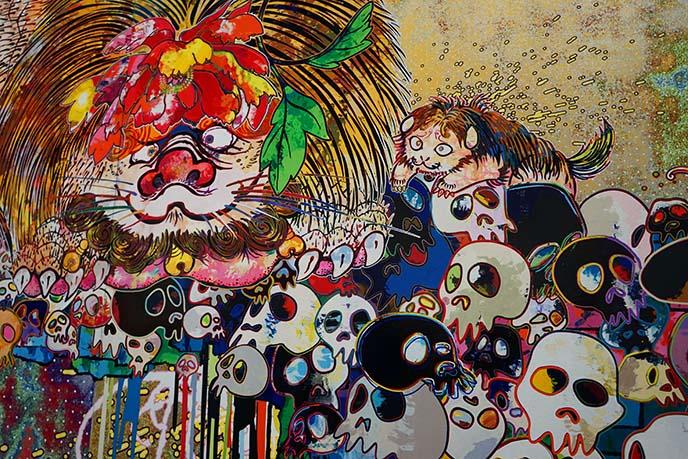 murakami lions skulls painting