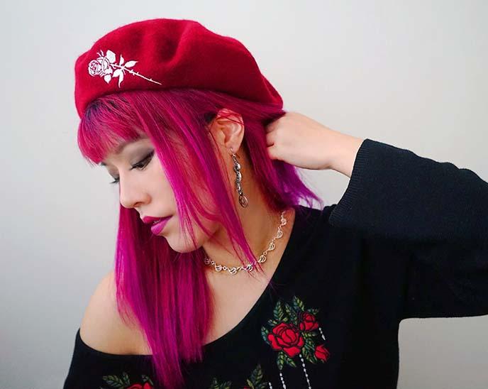 aurum jewelry iceland necklace, red beret