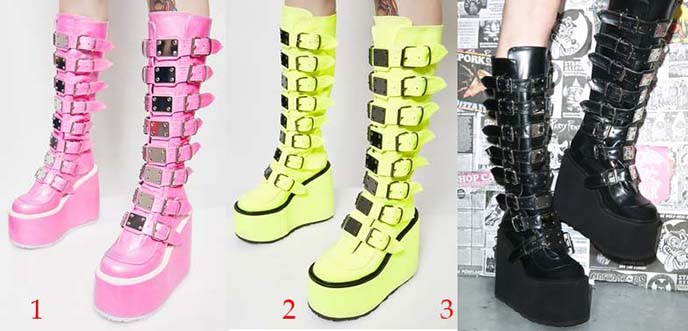 demonia trinity rave gothic boots pink yellow