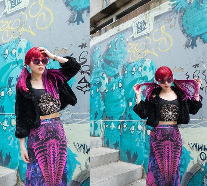 space goth outfit fashion hair