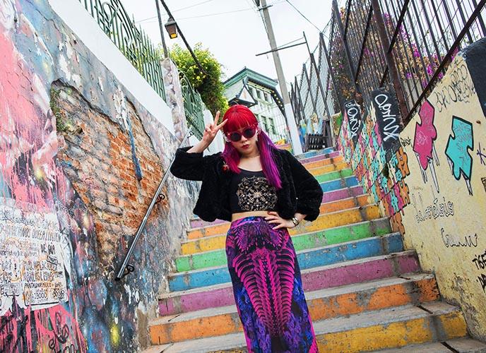 valparaiso rainbow colorful stairs