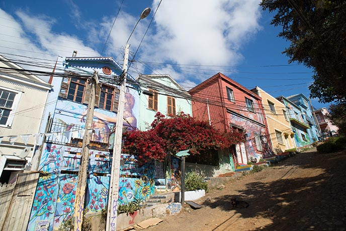 valpo chile rainbow houses streets