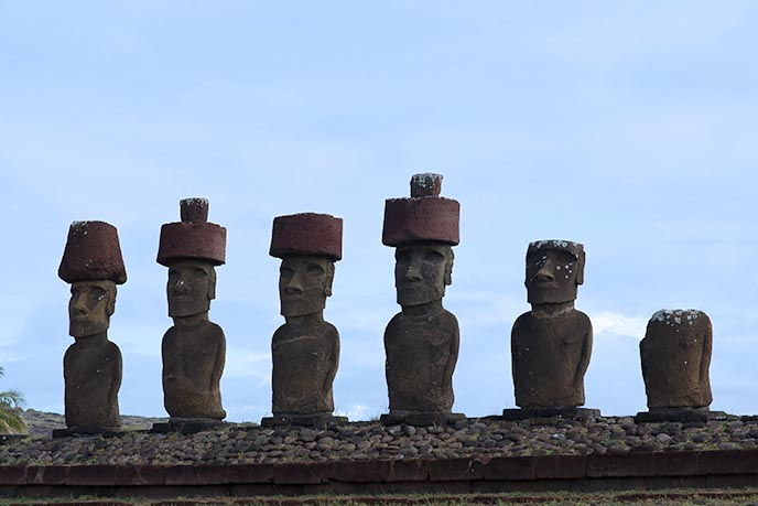 easter island stone statues hats