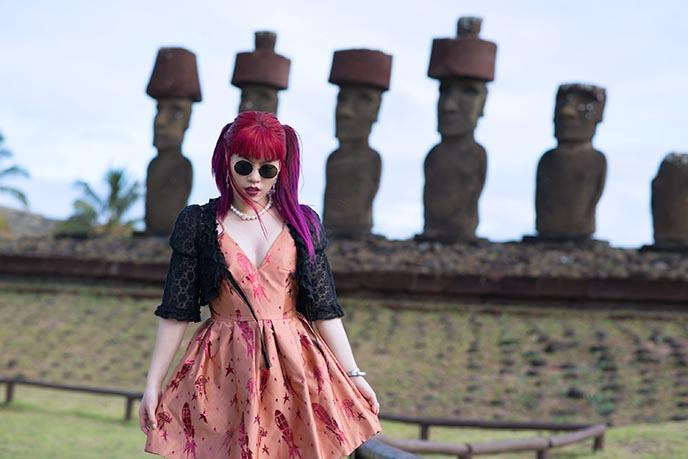 famous moai stone men statues easter island