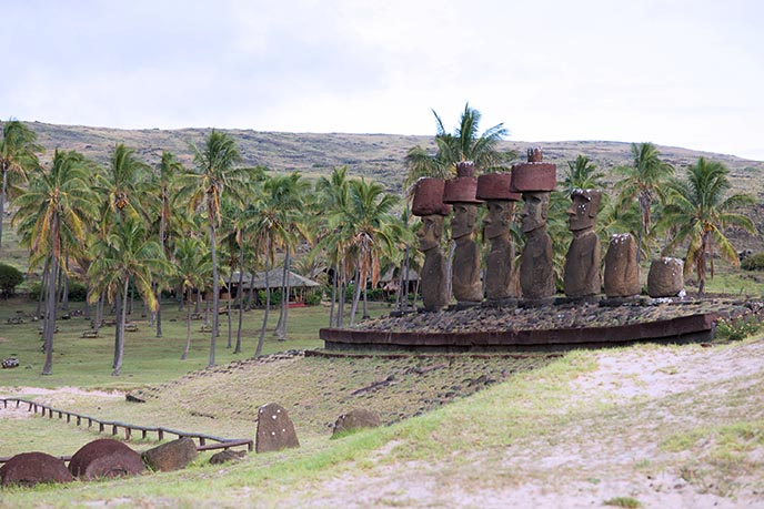 easter island moai in row