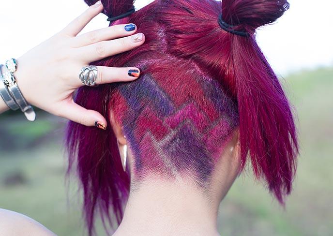 pink shaved undercut pattern