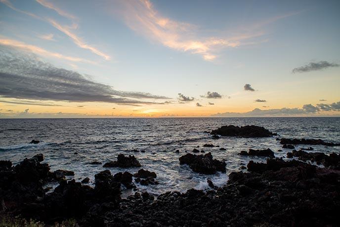 hangaroa ocean beach sunset