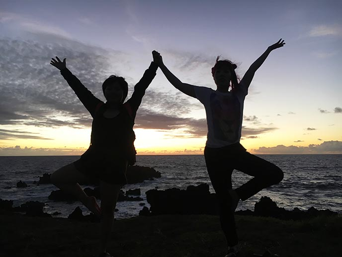 tree pose yoga silhouette sunset