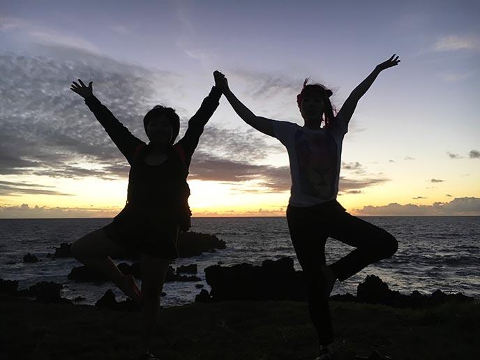 tree pose yoga silhouette sunset