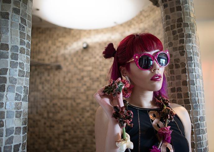 pink irregular choice sunglasses