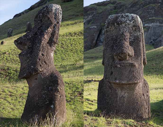 closeup detail stone moai faces heads