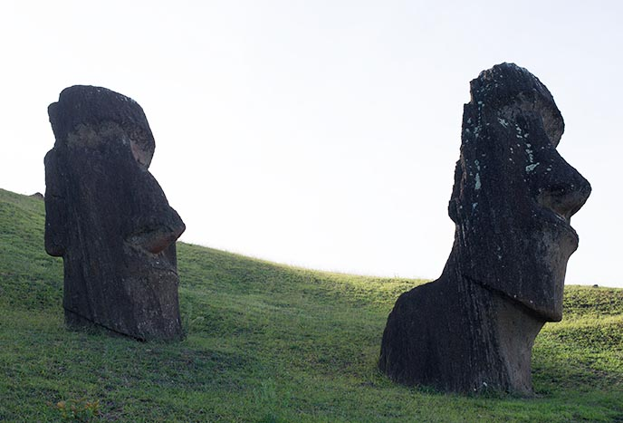 mysterious easter island statues