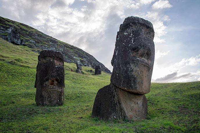 two easter island moai ranu raraku