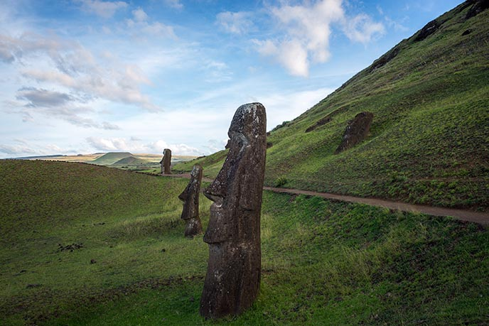 green hills easter island statues