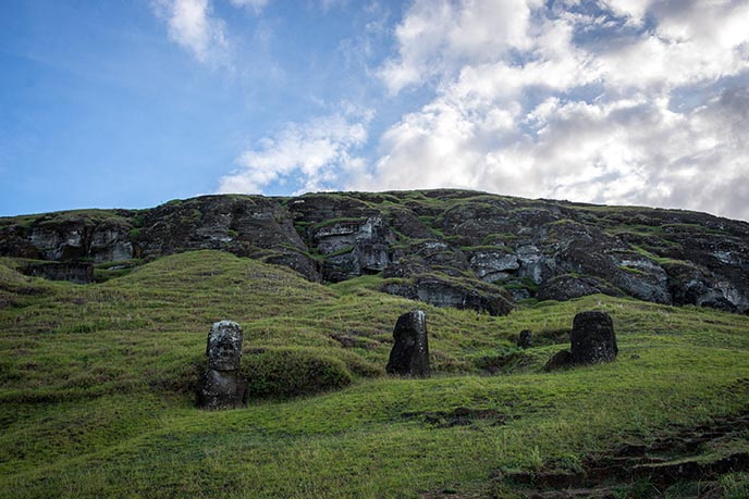moai stone faces underground bodies