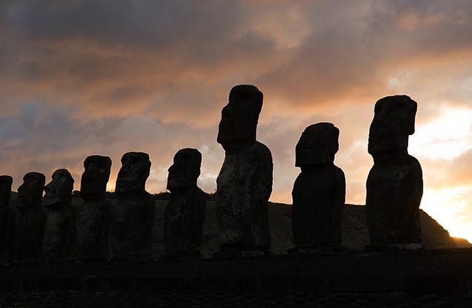 sunrise silhouette easter island moai