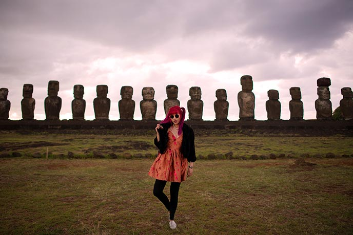 female travel bloggers easter island sun rising tongariki row moai