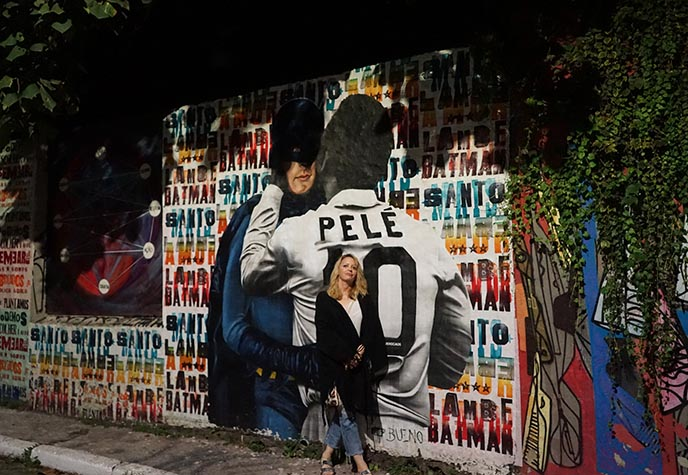 pele batman alley mural painting