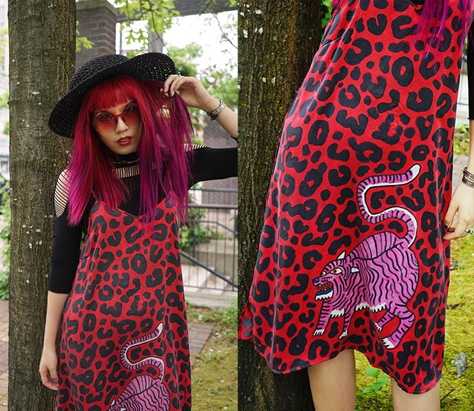 red silk slip dress