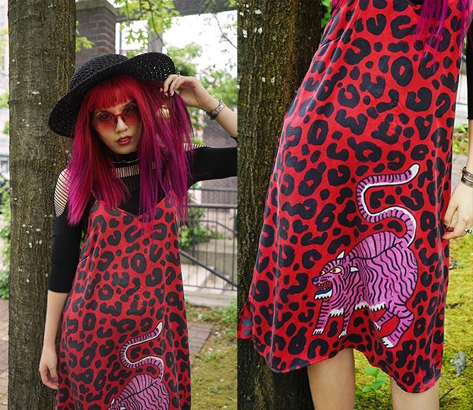 red silk slip dress