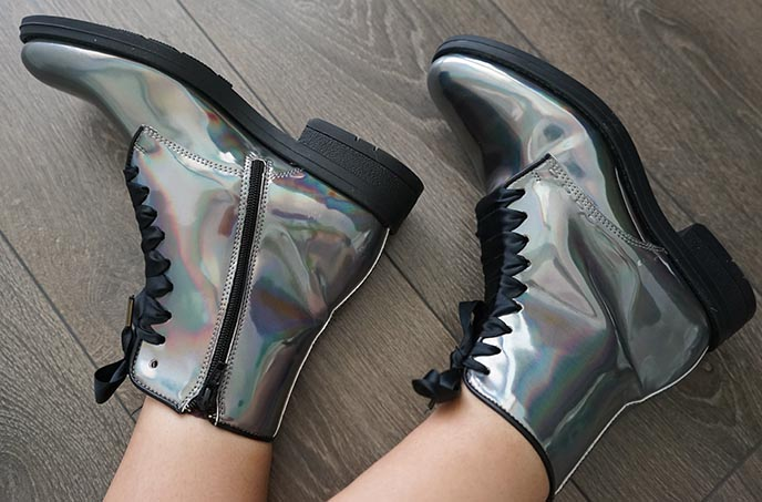 irregular choice silver iridescent boots shoes