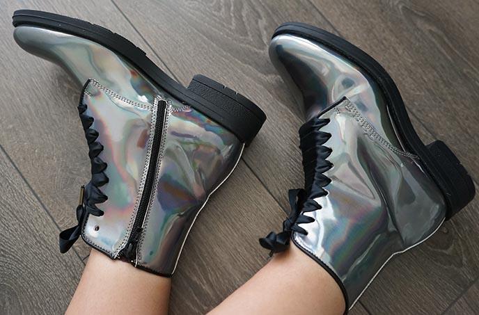 irregular choice silver iridescent boots shoes