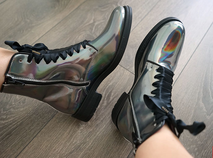 silver holographic ankle boots moon boot