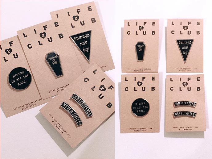 life club uk gothic pins