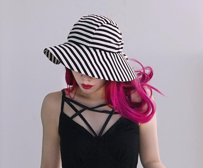 black white striped sun hat