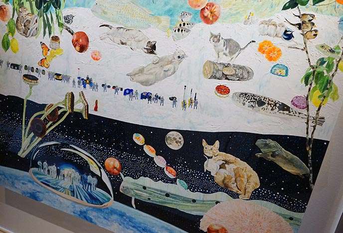 space cats painting art collage