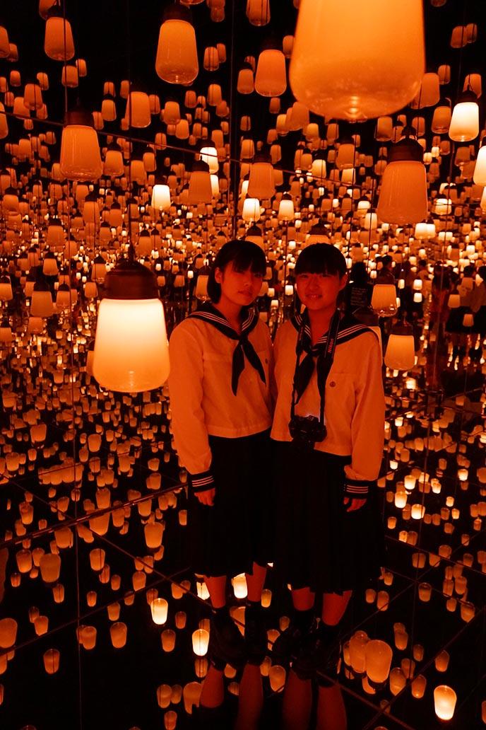 japanese schoolgirls tokyo digital museum lanterns