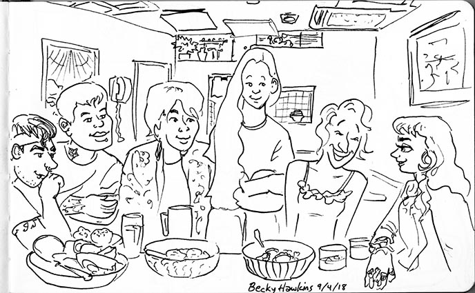 friends at restaurant sketch