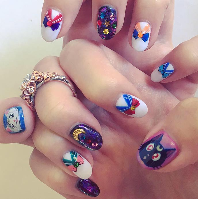 sailor moon nail art gel nails luna artemis scouts