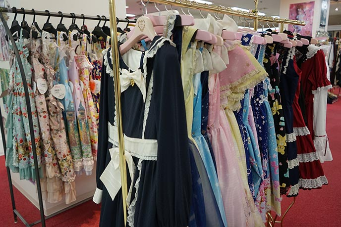 sweet lolita pastel dresses rack