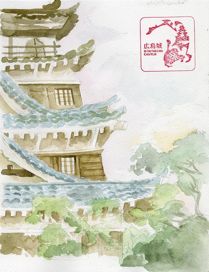 hiroshima castle watercolor japan