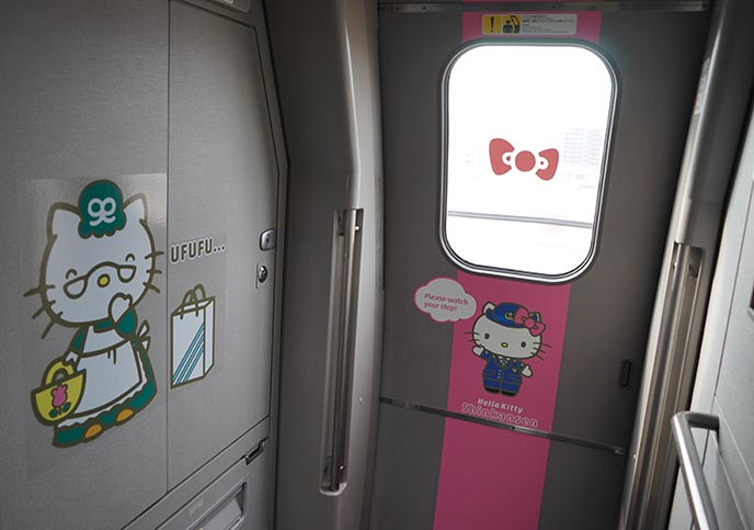 weird hello kitty themed train