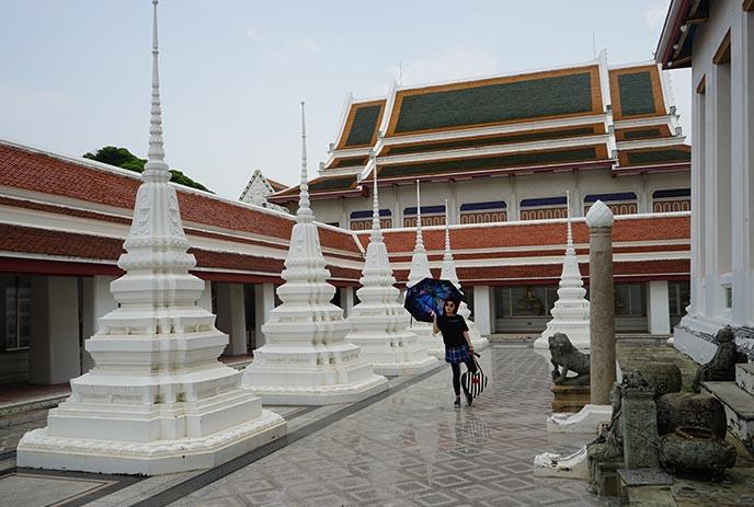 white buddhist stupas bangkok