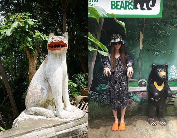 Smiling stone cat statue Luang Prabang