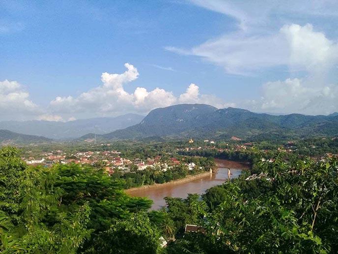 mount phousi view mekong river luang prabang