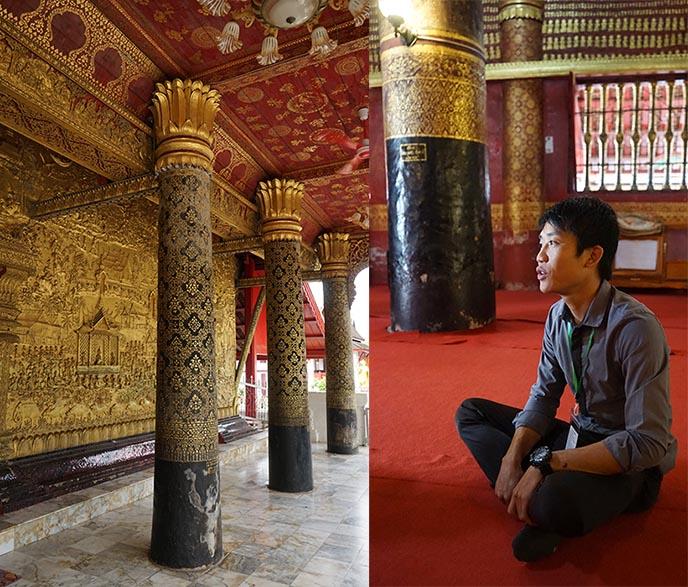 Wat Mai Suwannaphumaham monastery gold pillars