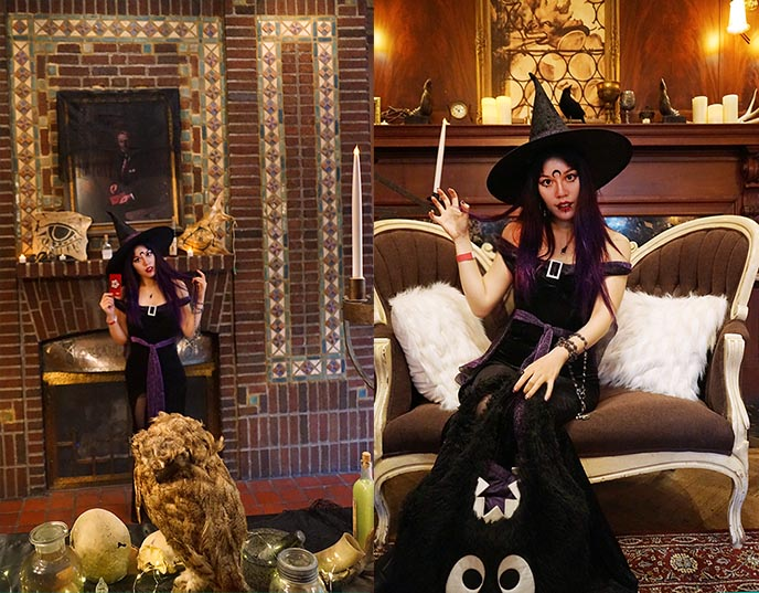 sexy witch costume purple black hat dress