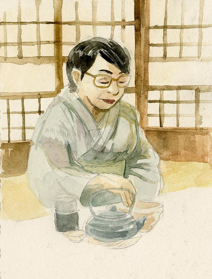 illustration watercolor japanese tea ceremony