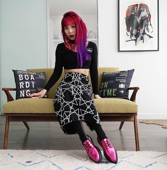 long clothing hexagon geometric skirt, nu goth fashion, goth girl pink purple hair