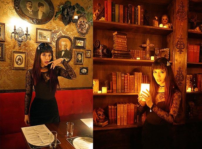 dark manor inn, vancouver bc haunted manor restaurant, dark manor bar shameful tiki room, vancouver goth bars gothic restaurants