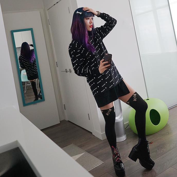 fashion blogger long legs, three quarter length thigh high tights, morph8ne sweater