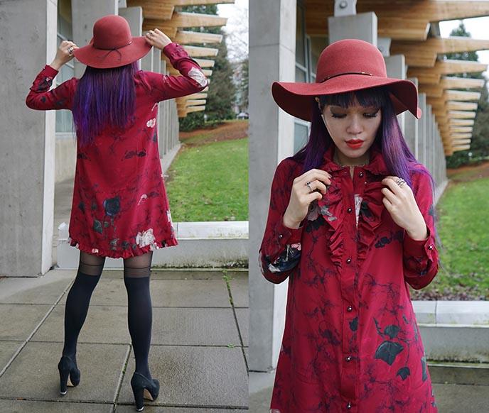 tenth street hats, red floppy wide brim felt scala sydney