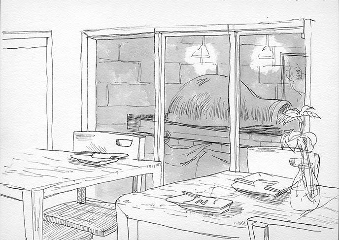 baking oven sketch
