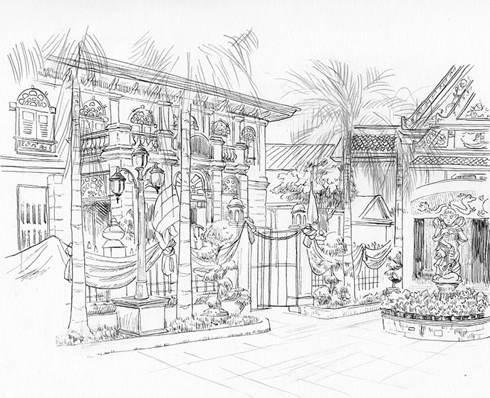 bangkok monastery sketch drawing