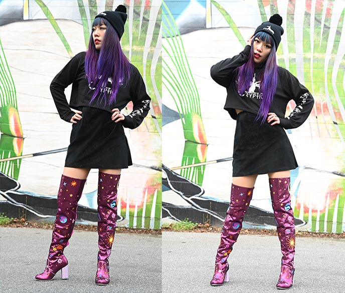 thigh high pink space glam shoes boots