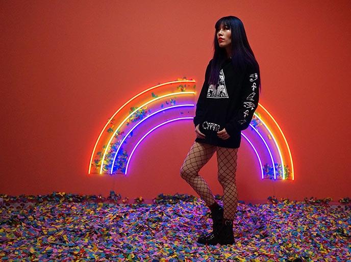 girl large rainbow neon wall light
